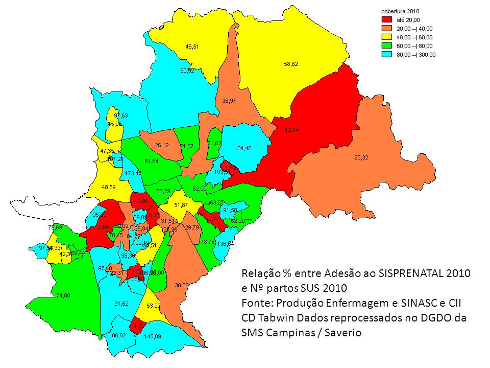 Relação % entre Adesão ao SISPRENATAL 2010 e Nº partos SUS 2010