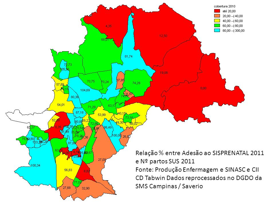 Relação % entre Adesão ao SISPRENATAL 2011 e Nº partos SUS 2011