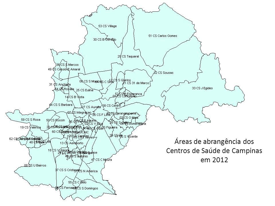 Áreas de abrangência dos Centros de Saúde de Campinas em 2012