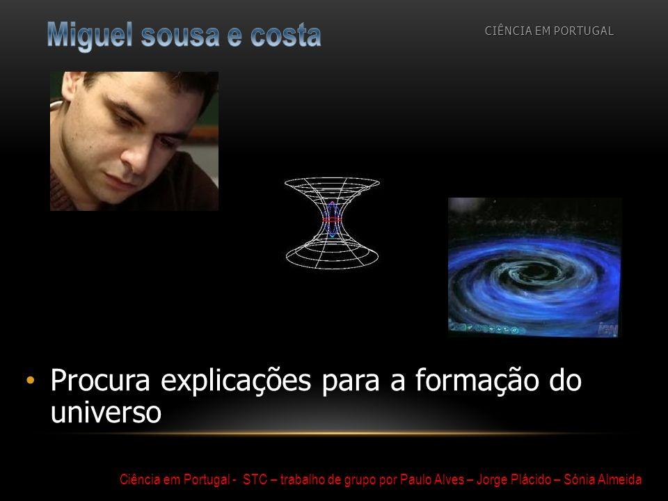 Miguel sousa e costa Procura explicações para a formação do universo