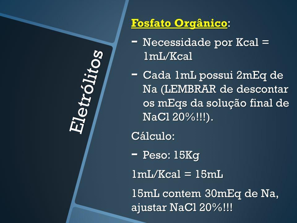 Eletrólitos Fosfato Orgânico: Necessidade por Kcal = 1mL/Kcal