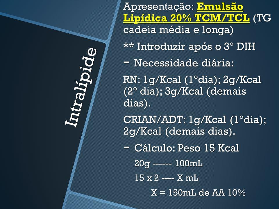 Apresentação: Emulsão Lipídica 20% TCM/TCL (TG cadeia média e longa)