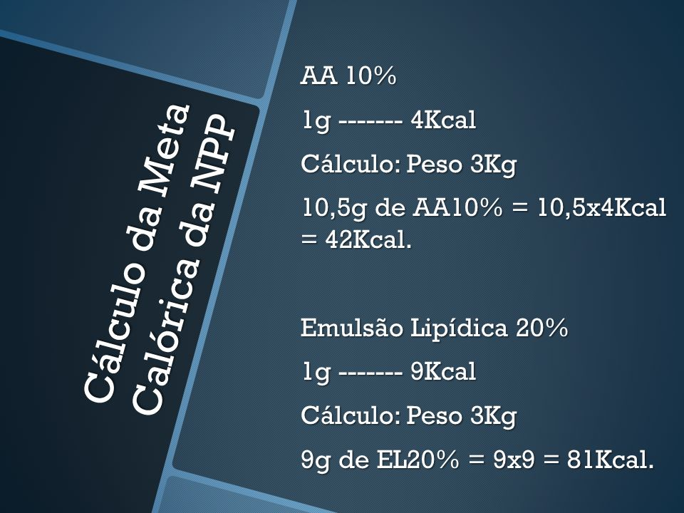 Cálculo da Meta Calórica da NPP