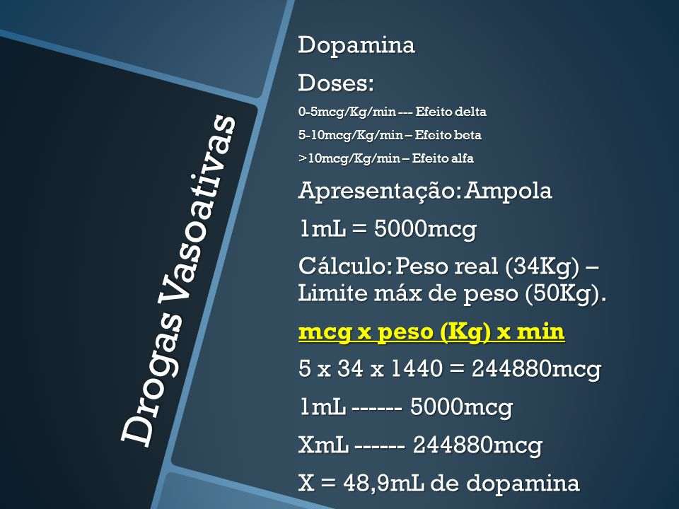 Drogas Vasoativas Dopamina Doses: Apresentação: Ampola 1mL = 5000mcg