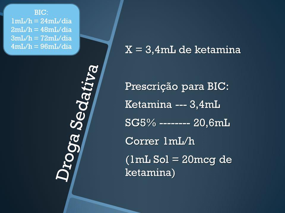 BIC: 1mL/h = 24mL/dia. 2mL/h = 48mL/dia. 3mL/h = 72mL/dia. 4mL/h = 96mL/dia.