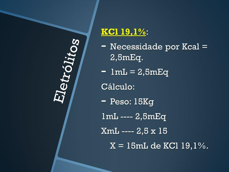 Eletrólitos KCl 19,1%: Necessidade por Kcal = 2,5mEq. 1mL = 2,5mEq