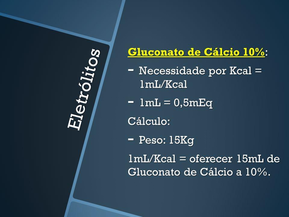 Eletrólitos Gluconato de Cálcio 10%: Necessidade por Kcal = 1mL/Kcal