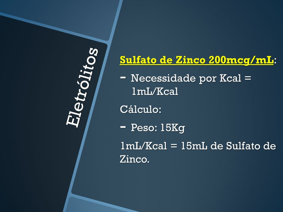 Eletrólitos Sulfato de Zinco 200mcg/mL: