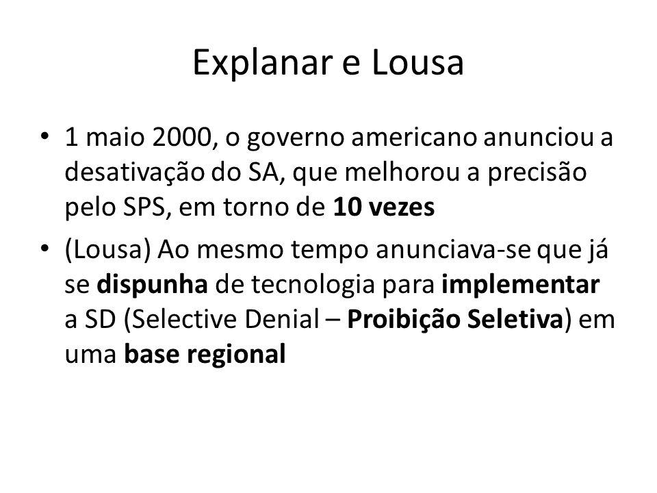 Explanar e Lousa 1 maio 2000, o governo americano anunciou a desativação do SA, que melhorou a precisão pelo SPS, em torno de 10 vezes.