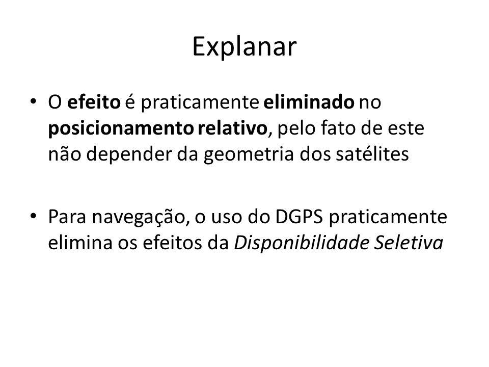 Explanar O efeito é praticamente eliminado no posicionamento relativo, pelo fato de este não depender da geometria dos satélites.