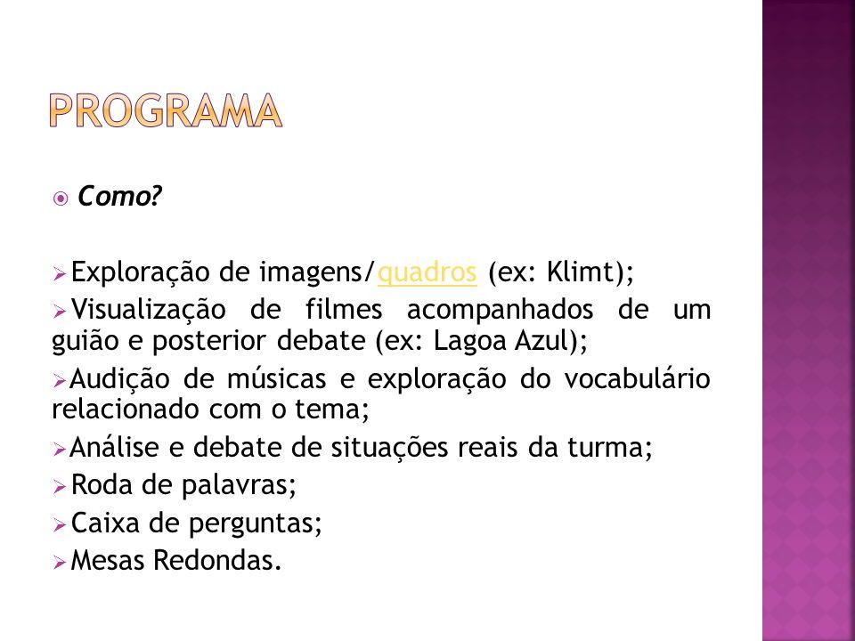 Programa Como Exploração de imagens/quadros (ex: Klimt);