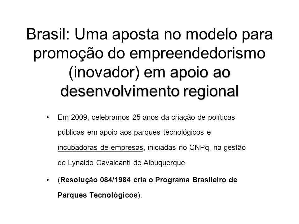 Brasil: Uma aposta no modelo para promoção do empreendedorismo (inovador) em apoio ao desenvolvimento regional