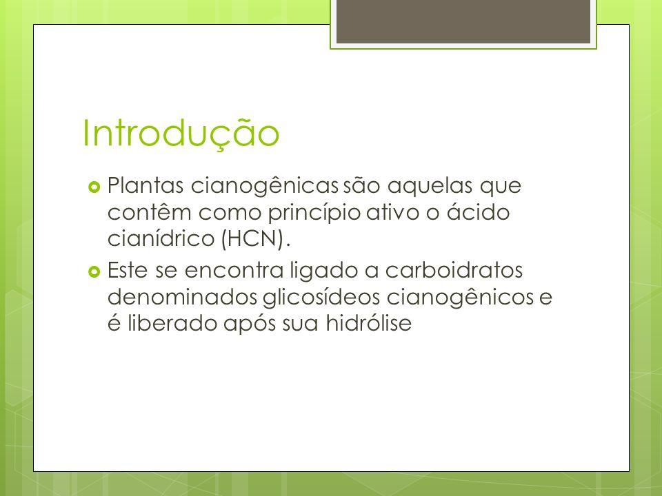Introdução Plantas cianogênicas são aquelas que contêm como princípio ativo o ácido cianídrico (HCN).