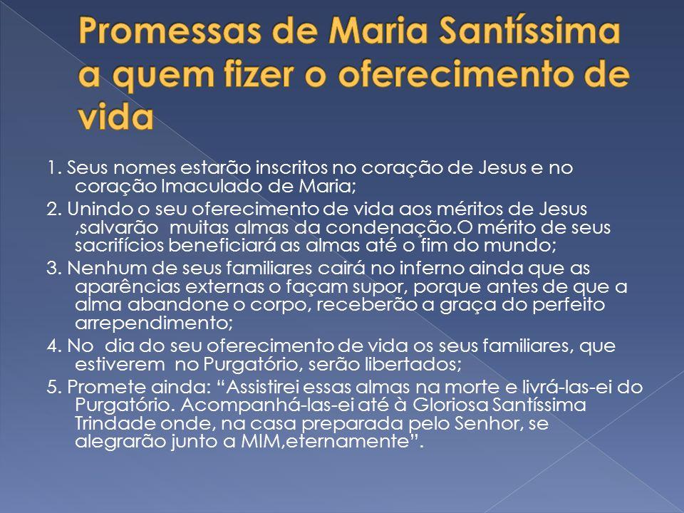Promessas de Maria Santíssima a quem fizer o oferecimento de vida