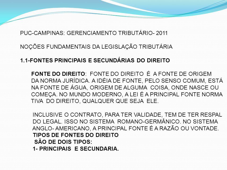 PUC-CAMPINAS: GERENCIAMENTO TRIBUTÁRIO- 2011