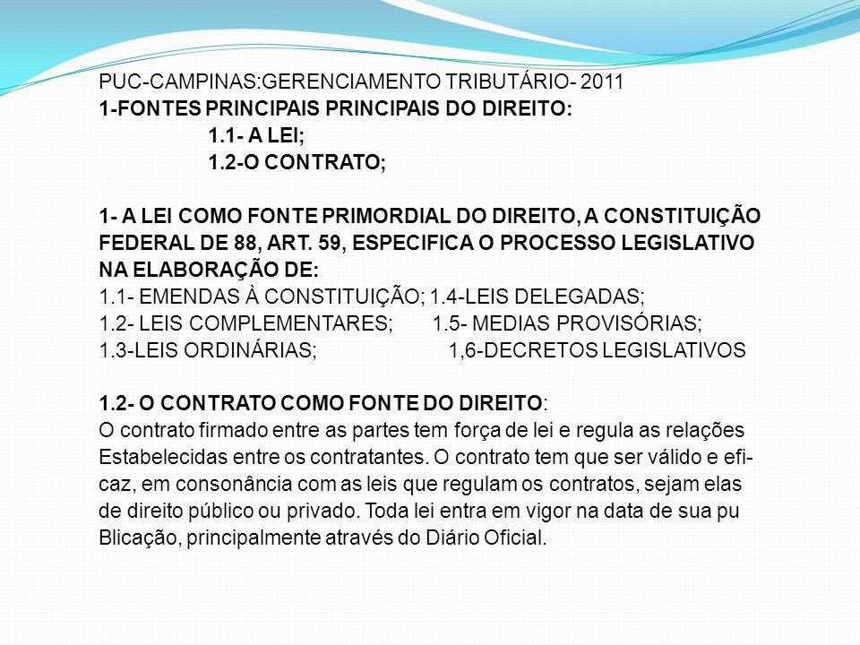 PUC-CAMPINAS:GERENCIAMENTO TRIBUTÁRIO- 2011 1-FONTES PRINCIPAIS PRINCIPAIS DO DIREITO: 1.1- A LEI; 1.2-O CONTRATO; 1- A LEI COMO FONTE PRIMORDIAL DO DIREITO, A CONSTITUIÇÃO FEDERAL DE 88, ART.