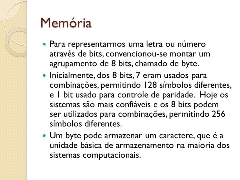 Memória Para representarmos uma letra ou número através de bits, convencionou-se montar um agrupamento de 8 bits, chamado de byte.