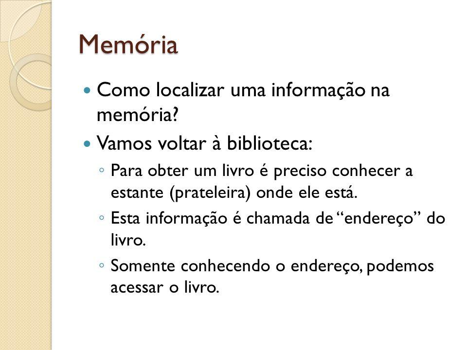 Memória Como localizar uma informação na memória