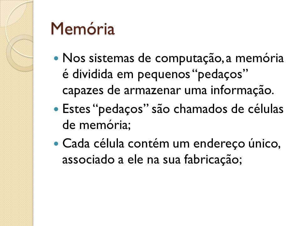 Memória Nos sistemas de computação, a memória é dividida em pequenos pedaços capazes de armazenar uma informação.
