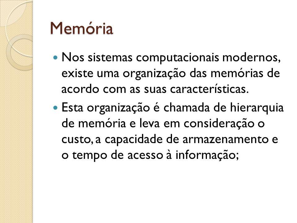 Memória Nos sistemas computacionais modernos, existe uma organização das memórias de acordo com as suas características.