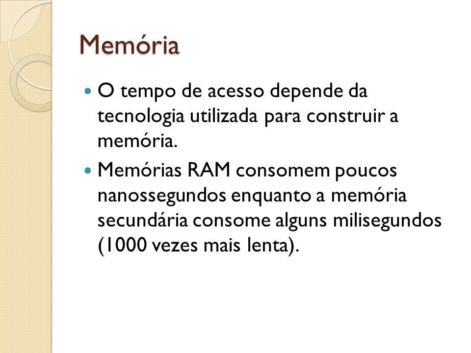 Memória O tempo de acesso depende da tecnologia utilizada para construir a memória.