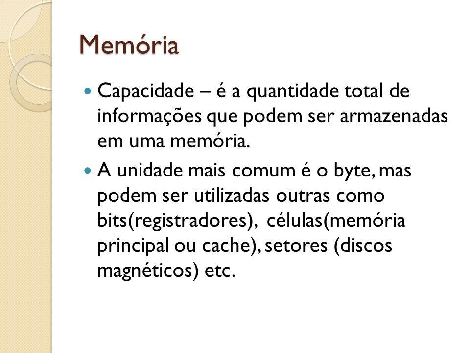 Memória Capacidade – é a quantidade total de informações que podem ser armazenadas em uma memória.