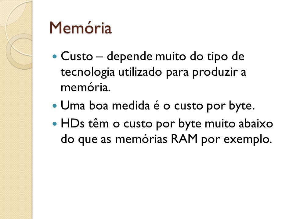 Memória Custo – depende muito do tipo de tecnologia utilizado para produzir a memória. Uma boa medida é o custo por byte.