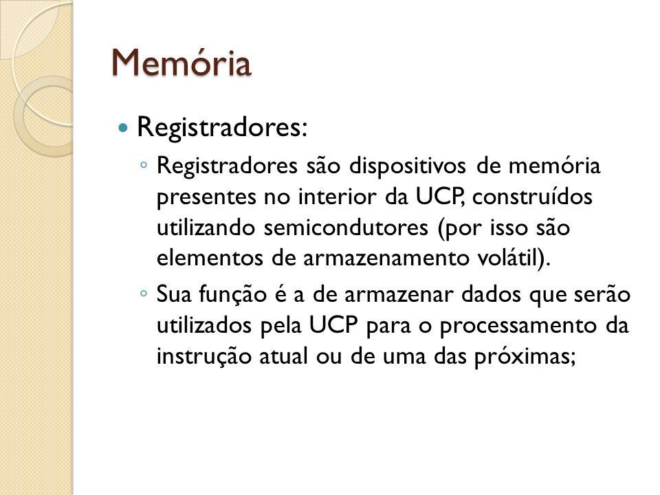 Memória Registradores: