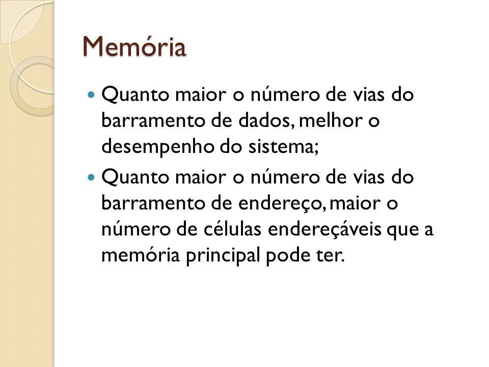 Memória Quanto maior o número de vias do barramento de dados, melhor o desempenho do sistema;