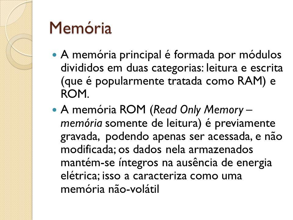 Memória A memória principal é formada por módulos divididos em duas categorias: leitura e escrita (que é popularmente tratada como RAM) e ROM.