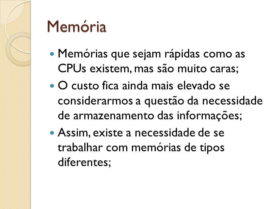 Memória Memórias que sejam rápidas como as CPUs existem, mas são muito caras;