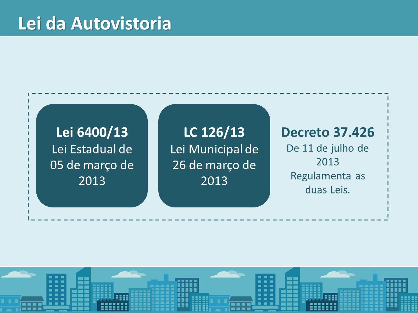 Lei da Autovistoria Decreto 37.426 Lei 6400/13 LC 126/13