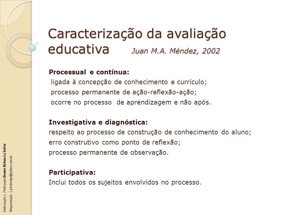 Caracterização da avaliação educativa Juan M.A. Méndez, 2002