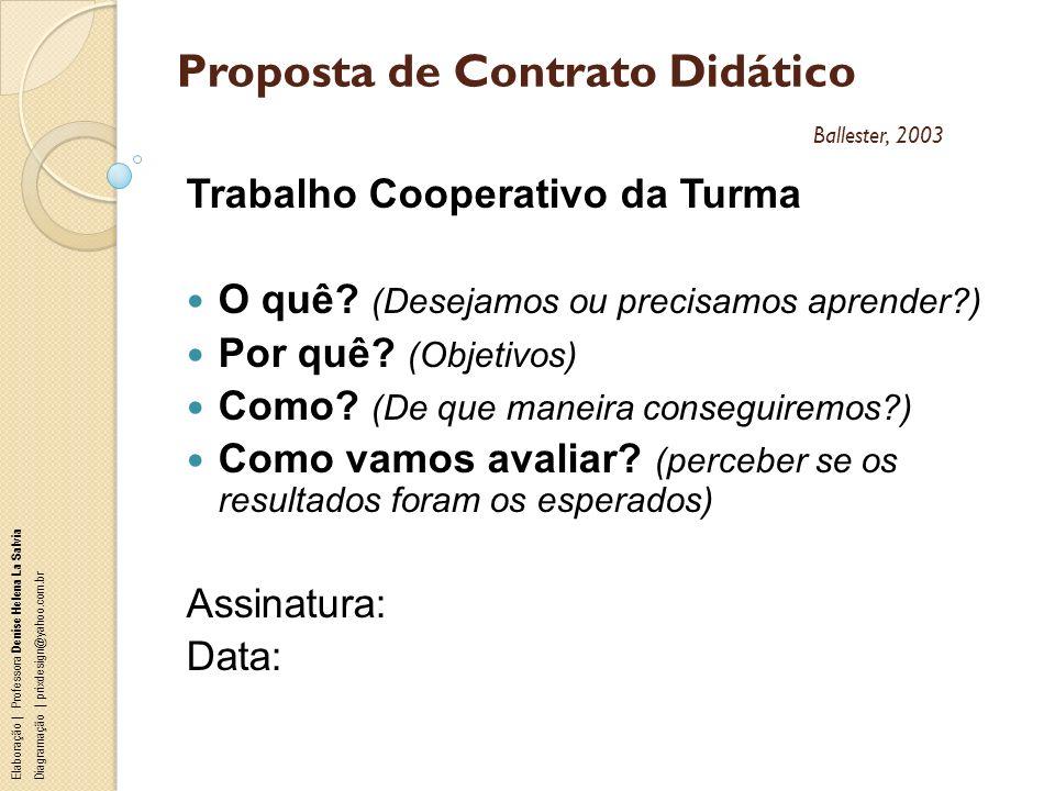 Proposta de Contrato Didático Ballester, 2003
