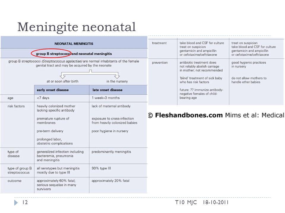Meningite neonatal T10 MJC 18-10-2011