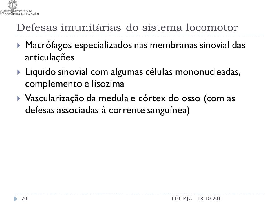 Defesas imunitárias do sistema locomotor