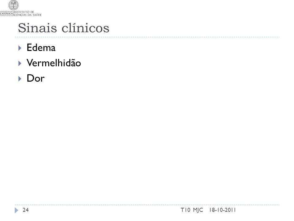 Sinais clínicos Edema Vermelhidão Dor T10 MJC 18-10-2011