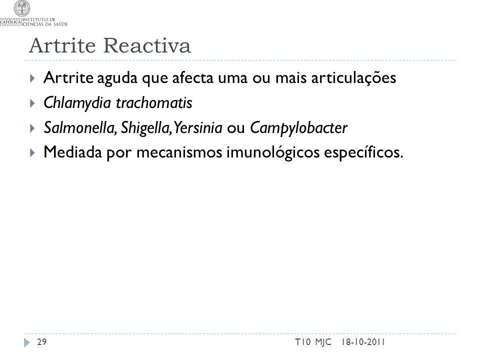 Artrite Reactiva Artrite aguda que afecta uma ou mais articulações