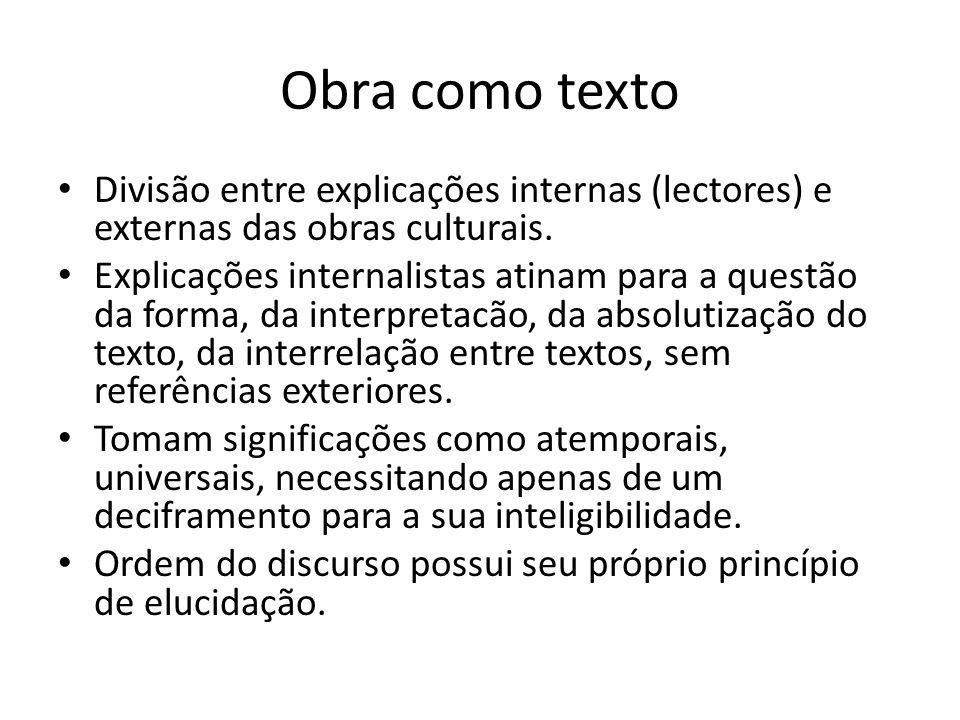 Obra como texto Divisão entre explicações internas (lectores) e externas das obras culturais.