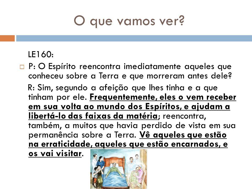 O que vamos ver LE160: P: O Espírito reencontra imediatamente aqueles que conheceu sobre a Terra e que morreram antes dele