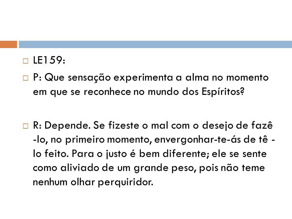 LE159: P: Que sensação experimenta a alma no momento em que se reconhece no mundo dos Espíritos