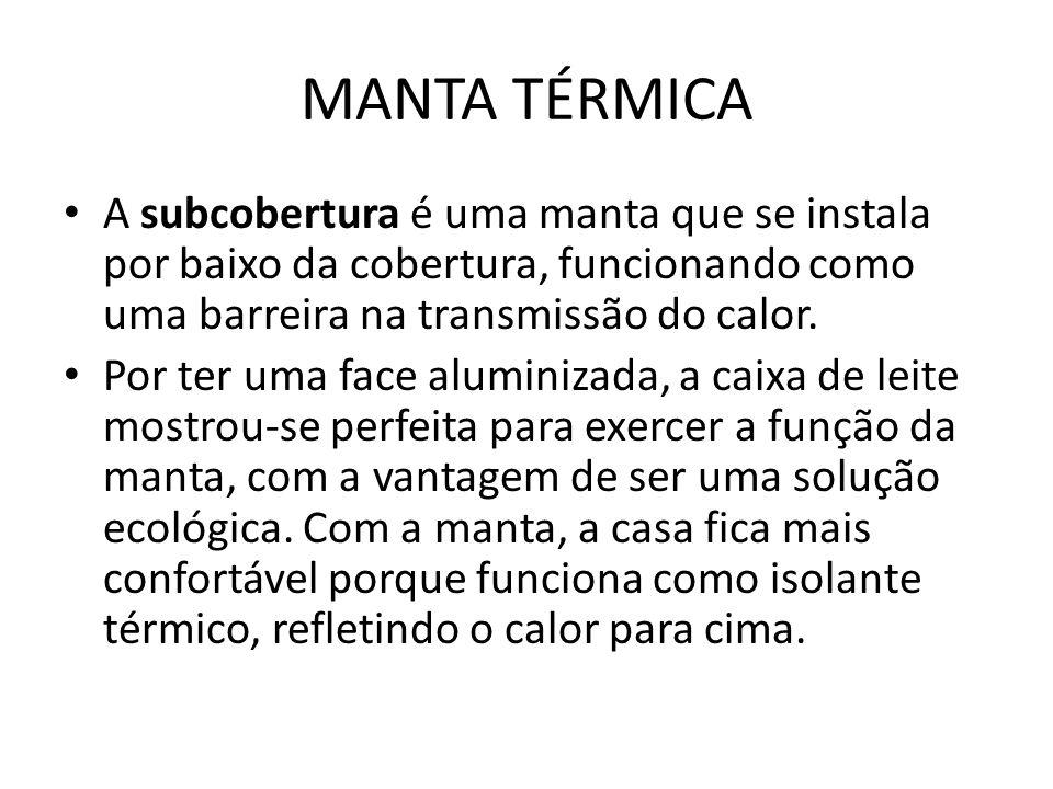 MANTA TÉRMICA A subcobertura é uma manta que se instala por baixo da cobertura, funcionando como uma barreira na transmissão do calor.