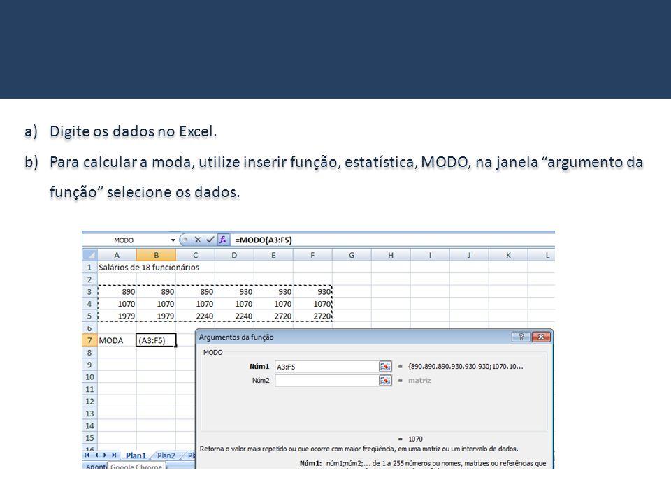 Digite os dados no Excel.