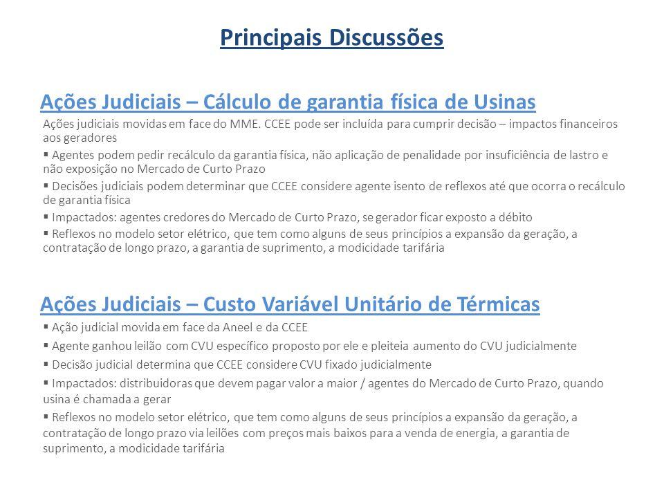 Ações Judiciais – Cálculo de garantia física de Usinas