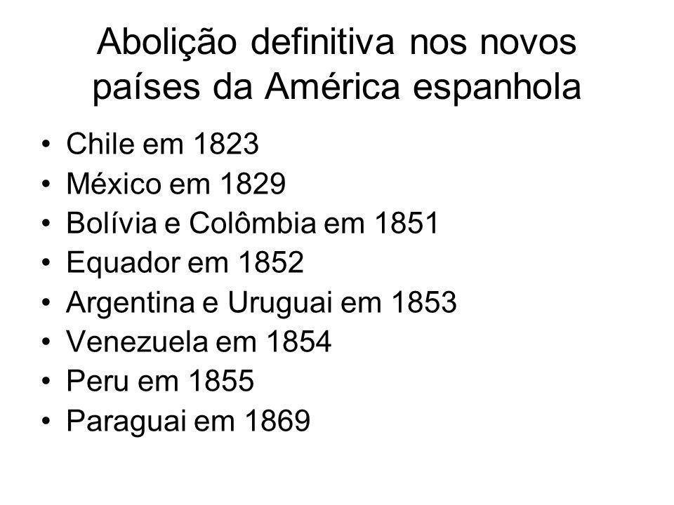 Abolição definitiva nos novos países da América espanhola