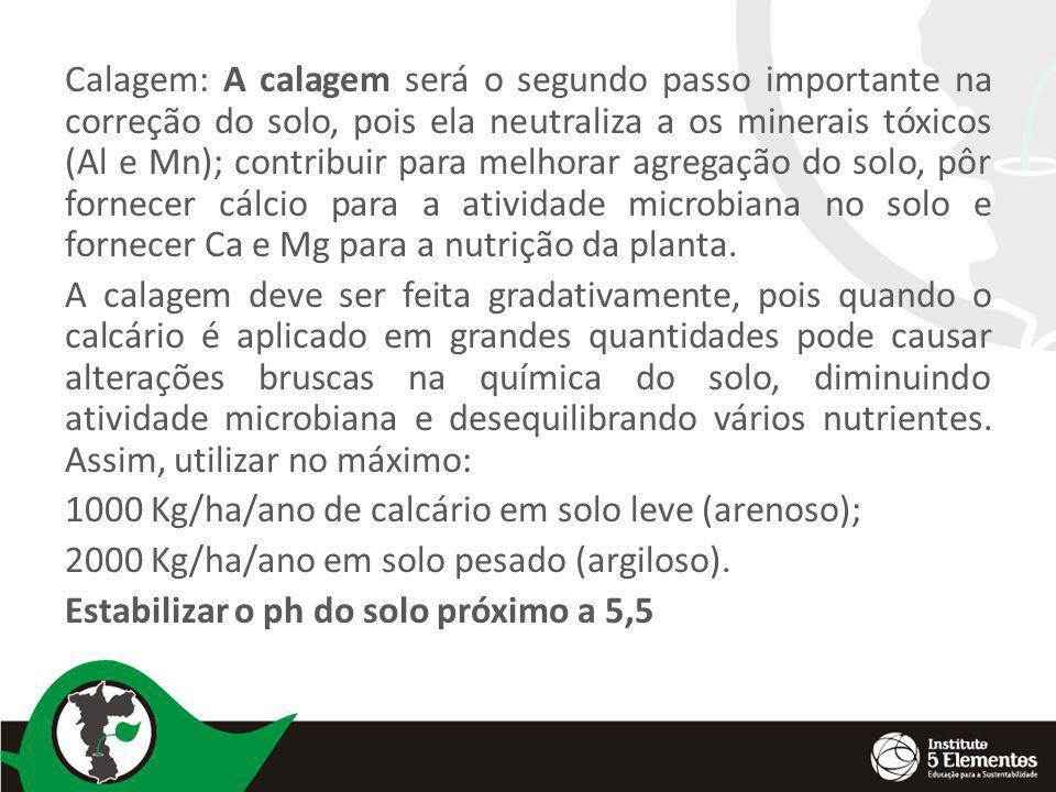 Calagem: A calagem será o segundo passo importante na correção do solo, pois ela neutraliza a os minerais tóxicos (Al e Mn); contribuir para melhorar agregação do solo, pôr fornecer cálcio para a atividade microbiana no solo e fornecer Ca e Mg para a nutrição da planta.