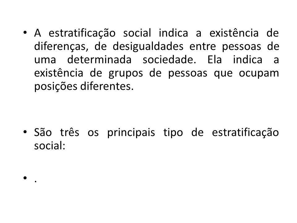 A estratificação social indica a existência de diferenças, de desigualdades entre pessoas de uma determinada sociedade. Ela indica a existência de grupos de pessoas que ocupam posições diferentes.
