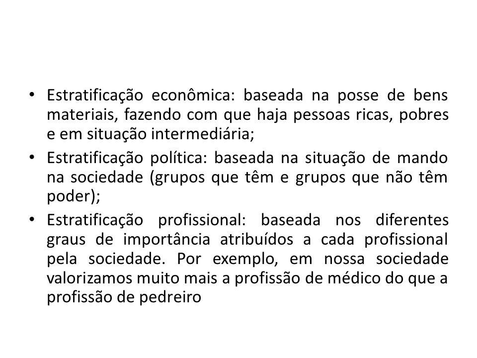 Estratificação econômica: baseada na posse de bens materiais, fazendo com que haja pessoas ricas, pobres e em situação intermediária;