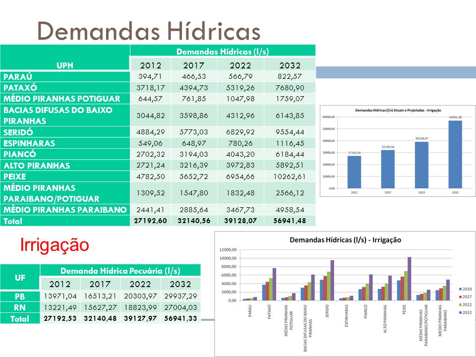 Demandas Hídricas (l/s) Demanda Hídrica Pecuária (l/s)