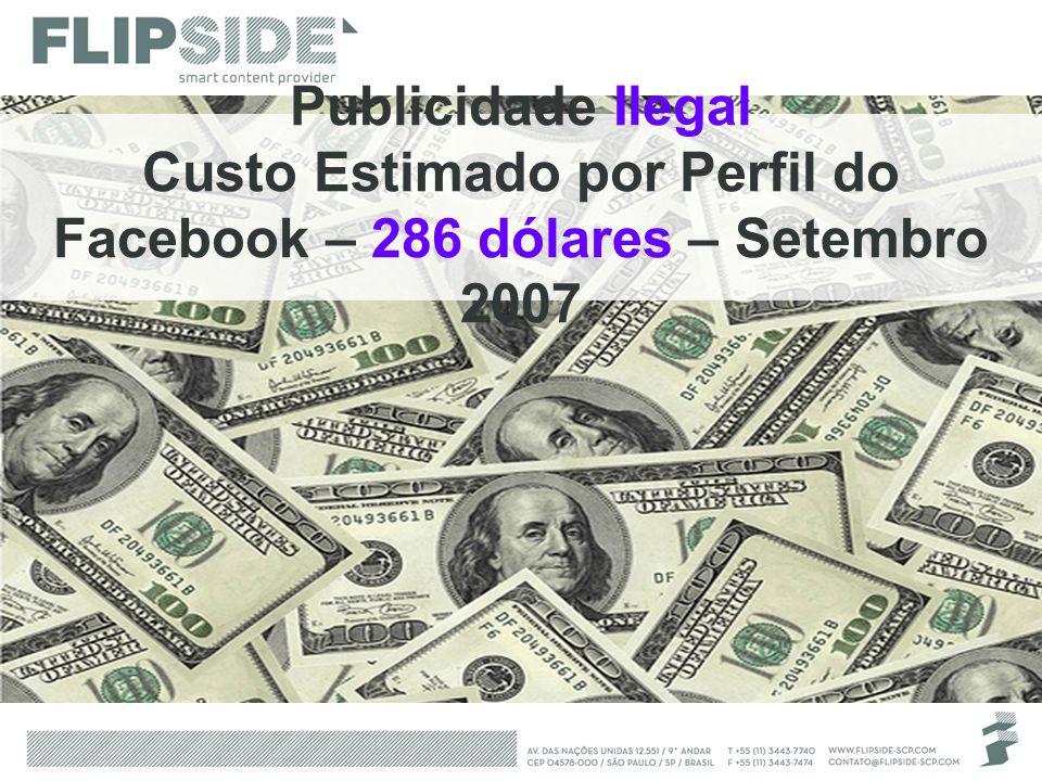 Custo Estimado por Perfil do Facebook – 286 dólares – Setembro 2007